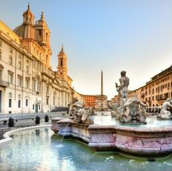 bed and breakfast roma centro fontana di piazza navona al tramonto